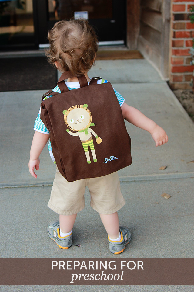 first day of preschool with blabla backpack