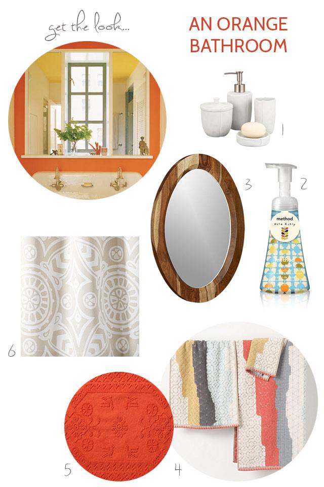 Get the look: an orange bathroom bunnyanddolly.com