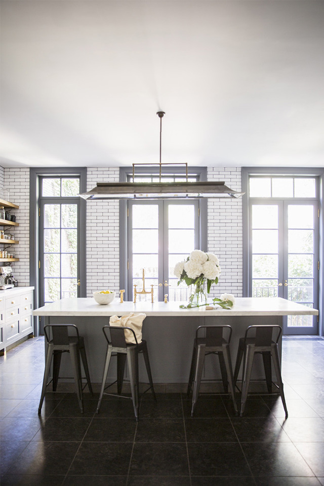 NYC brownstone kitchen with white subway tiles
