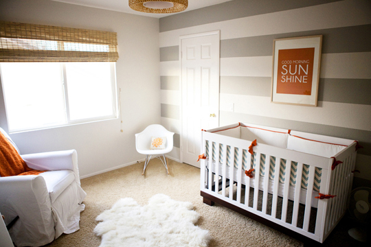 Gender Neutral Nursery with Grey Stripes | bunnyanddolly.com