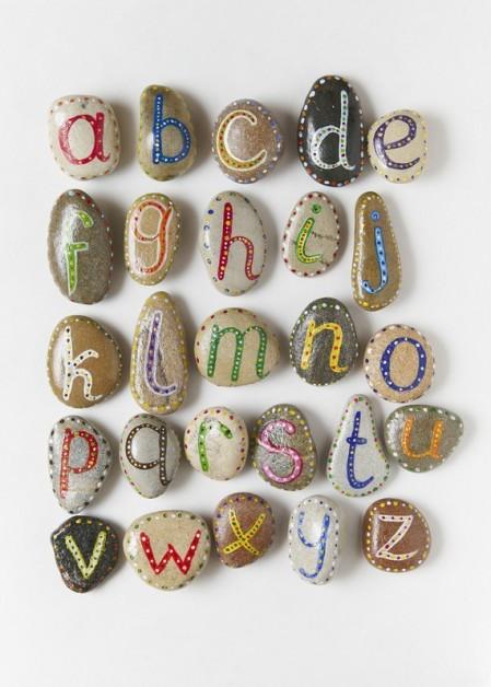 Painted Alphabet on Sea Stones