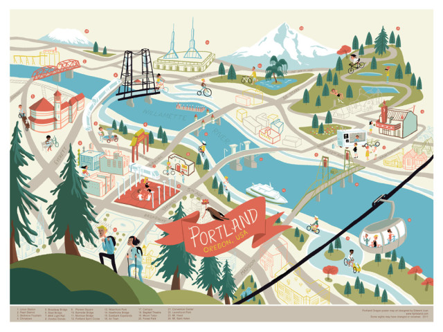 Three days in Portland: Illustrated map print