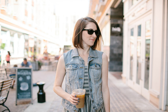 Late summer style: sleeveless dress, denim vest, and Ray-ban sunglasses | A Girl Named PJ