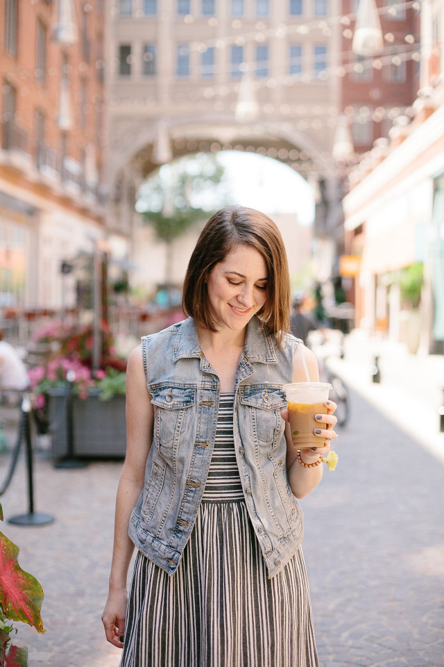 Late summer style with an iced coffee in hand | A Girl Named PJ