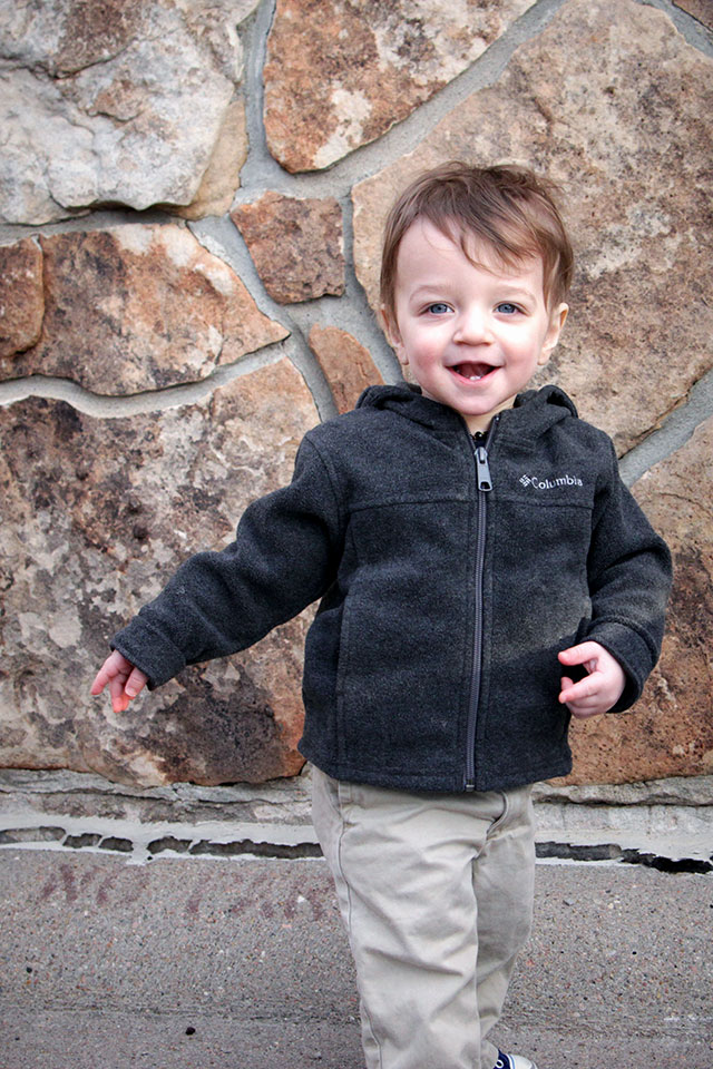 Toddler Wearing Columbia Fleece Jacket - www.bunnyanddolly.com