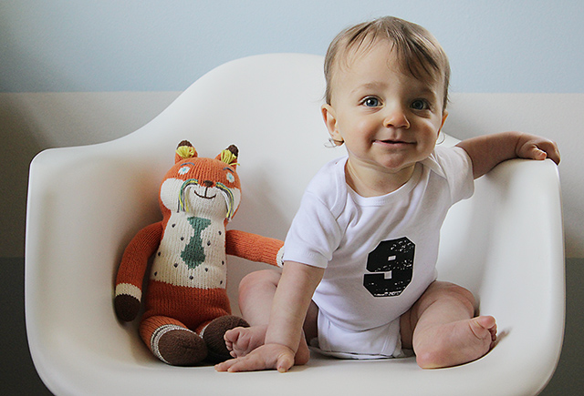 monthly baby photo - nine months old