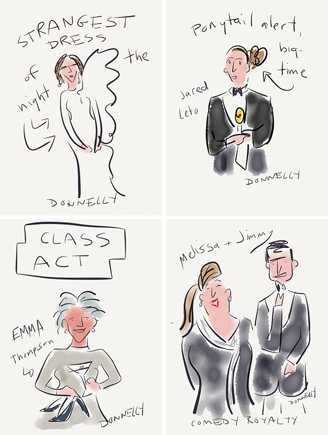 liza donnelly golden globe live draw tweeting