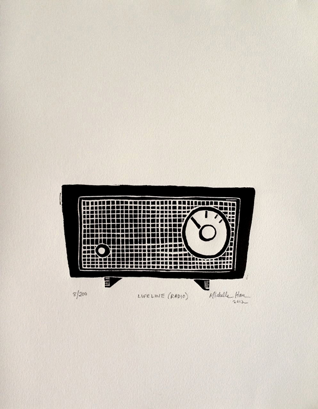 Retro Radio linocut by Michelle Han