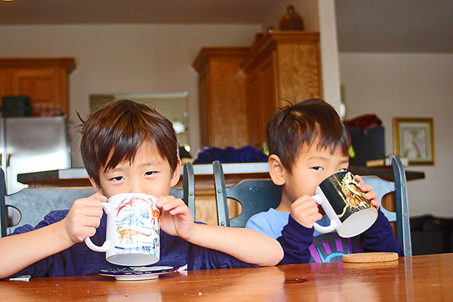 mint hot chocolate with kids