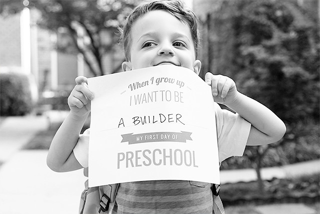 Love this First Day of Preschool printable from Pars Caeli | A Girl Named PJ