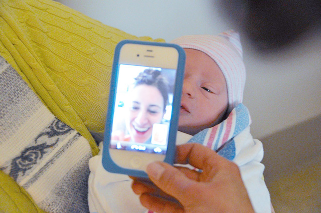 Seeing my newborn nephew for the first time via FaceTime bunnyanddolly.com