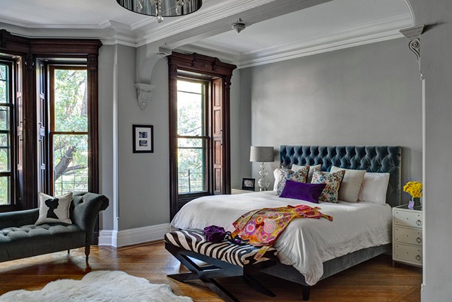 park slope townhouse grey bedroom