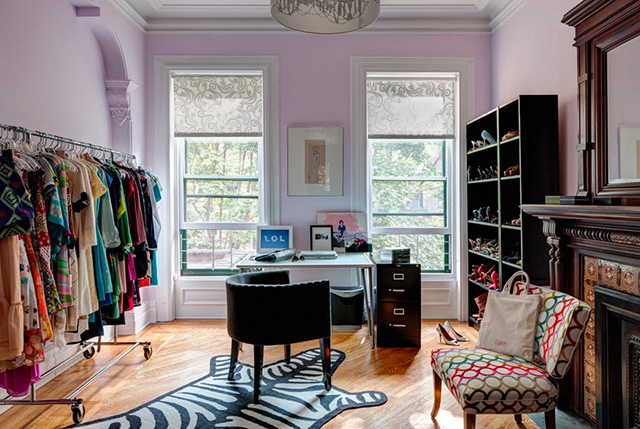 park slope townhouse pink office/dressing room
