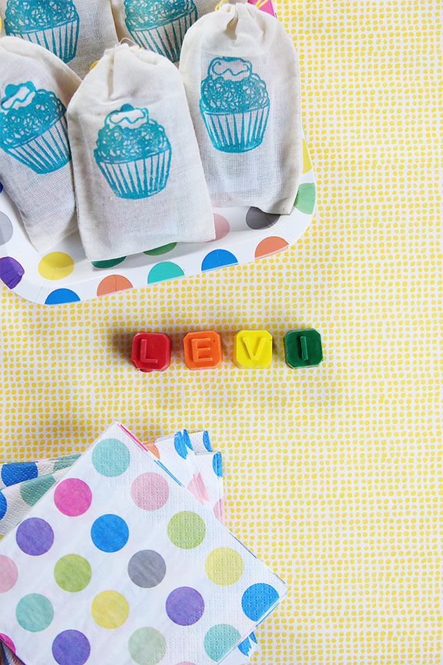 custom name crayons from A Childhood Store as birthday party favors - bunnyanddolly.com