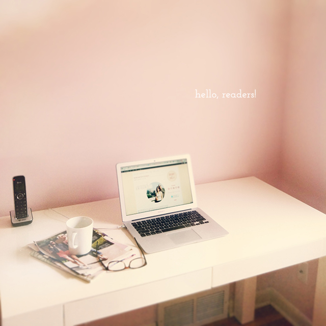 pink office, white desk - bunnyanddolly.com