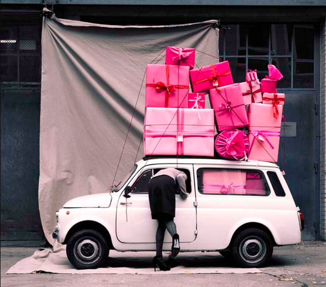 pink presents small car