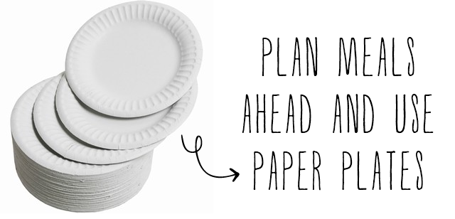 bunny & dolly | plan meals and use paper plates