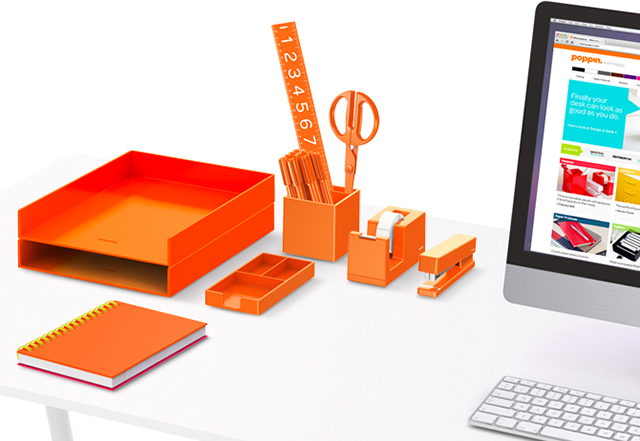 poppin work happy orange desk set
