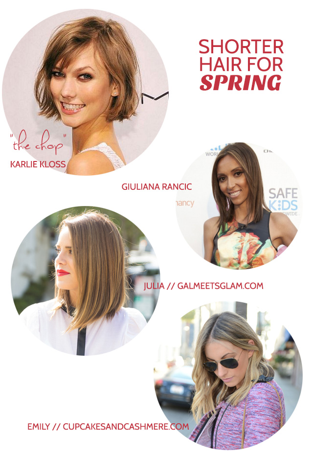 shorter hair for spring - karlie kloss - giuliana rancic - julia engel - emily schuman - bunnyanddolly.com