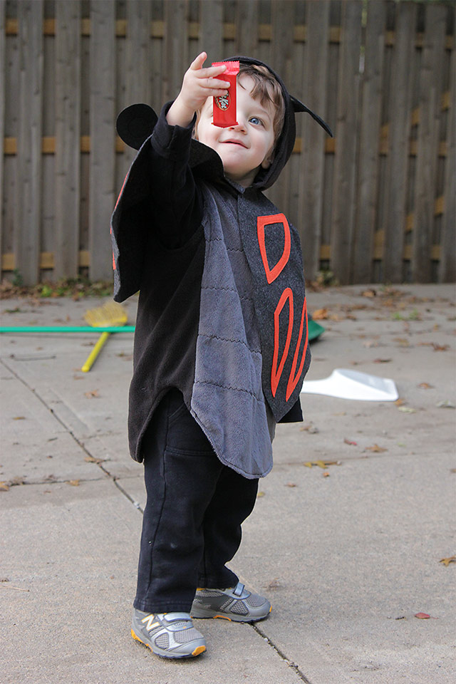 toddler bug costume on halloween (with a Kit Kat!)