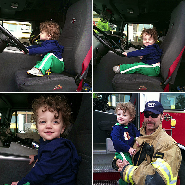 toddler in fire truck