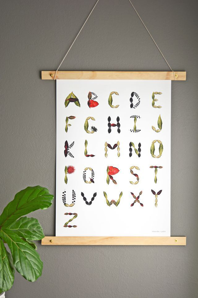 Tropical Foliage Abc Wall Art Print By Oleander And Palm