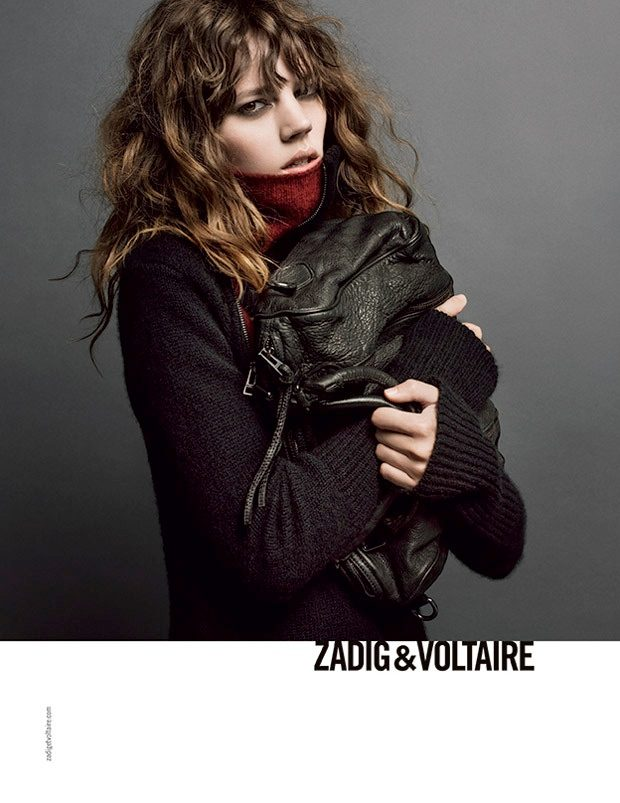 Freha Beha for Zadig Voltaire with curly bangs and wavy hair